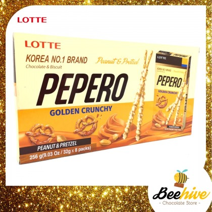 Pepero Golden Crunchy Peanut and Pretzel Chocolate Stick Biscuit 256g