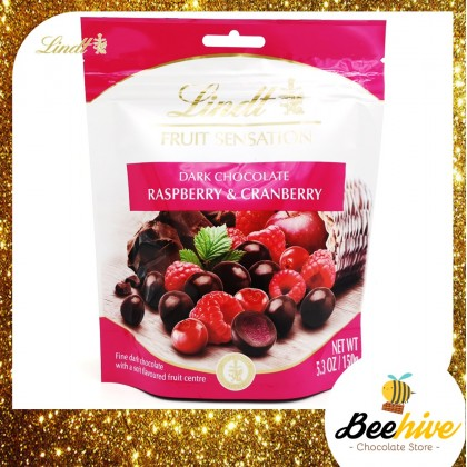 Lindt Fruit Sensation Dark Chocolate Raspberry And Cranberry 150g