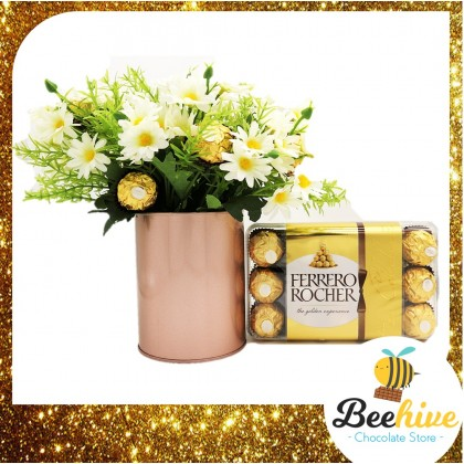 Beehive Chocolate Daisy Table Flowers with Ferrero Rocher Chocolates