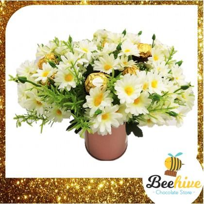 Beehive Chocolate Daisy Table Flowers with Ferrero Rocher Chocolates