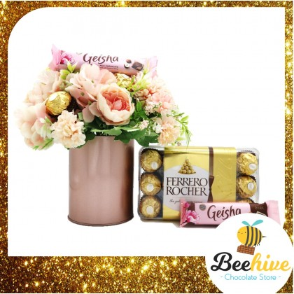 Beehive Chocolate Mix Pink Table Flowers with Ferrero Rocher and Geisha Chocolates