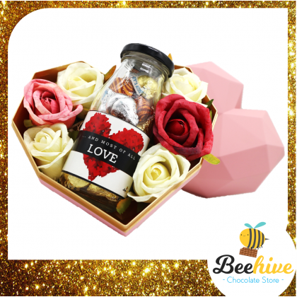 Beehive Chocolate Valentine Heart Shape Diamond Pink Gift Tin with Roses and Chocolate Gift Set