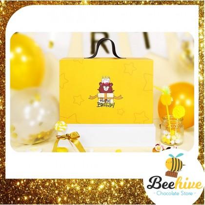 Beehive Chocolate Birthday Bear Big Yellow Gift Box with Chocolate Surprise