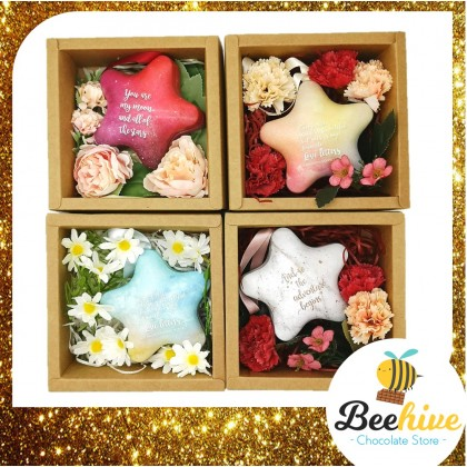 Beehive Chocolate Light Blue Star Gift Box with Flowers and Chocolate Surprise Gift Set