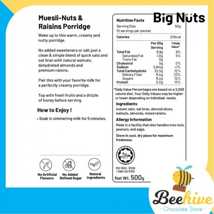 Big Nuts Nuts & Raisins Muesli Porridge 500g