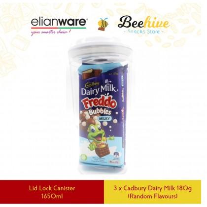 Cadbury Chocolate with Elianware Lid Lock Round White Airtight Canister [Australia Import]