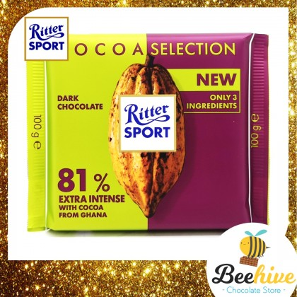 Ritter Sport 81% Dark Chocolate Extra Intense with Cocoa from Ghana 100g