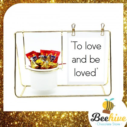 Beehive Chocolate Love Quotes Desk Decoration with Daim & Kisses Valentine Gift Set