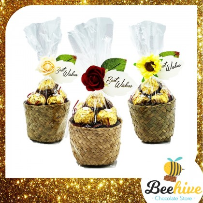 Beehive Chocolate Flowers Love Basket with Ferrero Rocher Valentine Gift Set