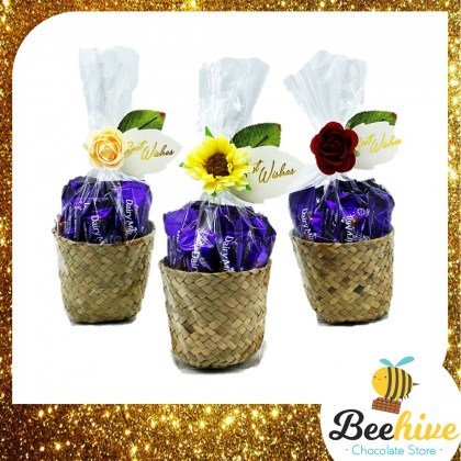 Beehive Chocolate Flowers Love Basket with Cadbury Valentine Gift Set