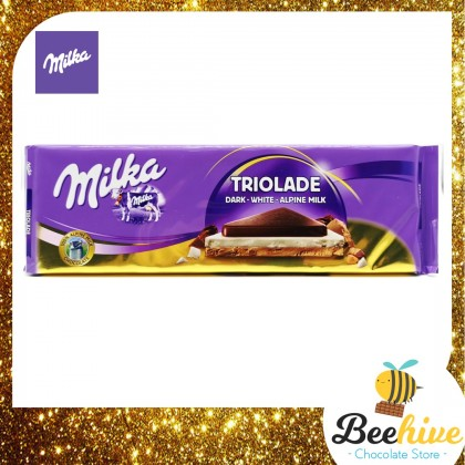 Milka Triolade Dark White Alpine Milk Chocolate 280g