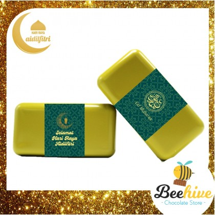 Beehive Snackies Avocado Green Premium Raya Gift Tin with Biskut Raya, Whittakers Almond Gold Chocolate Dried Figs and Candies