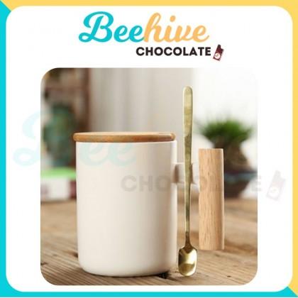 Minimalistic Mug with Wood Handle and Golden Spoon
