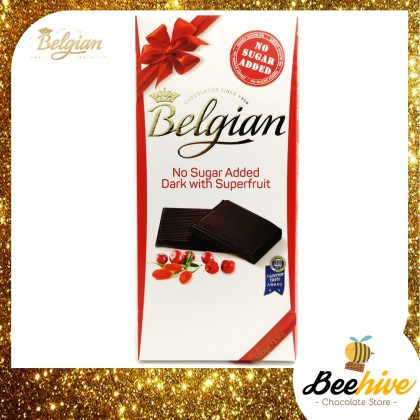Belgian No Sugar Added Dark Chocolate with Superfruit (Goji, Acerola & Cranberries) 100g