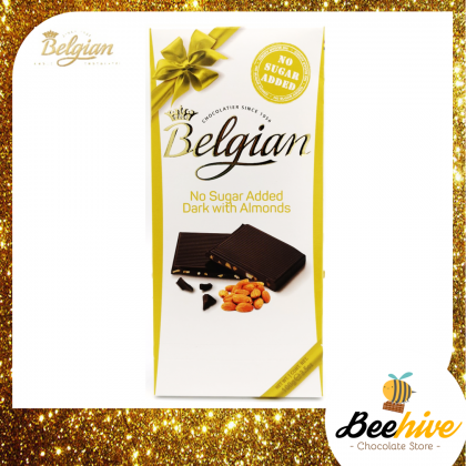 Belgian No Sugar Added Dark Chocolate with Almond 100g