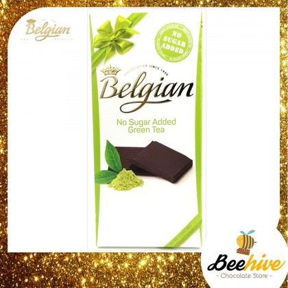 Belgian No Sugar Added Green Tea Dark Chocolate 100g