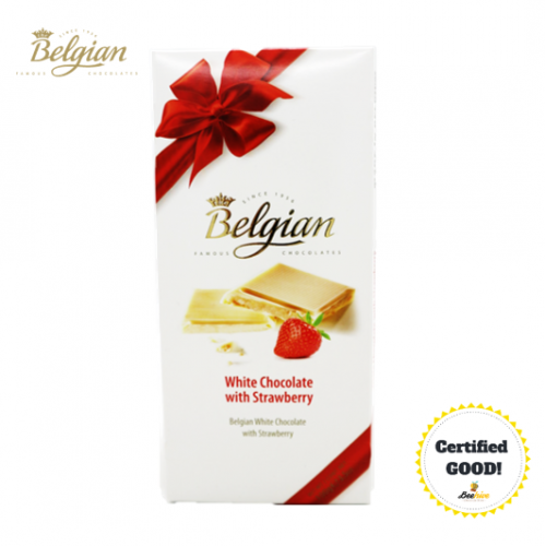 Belgian White Chocolate with Strawberry 100g