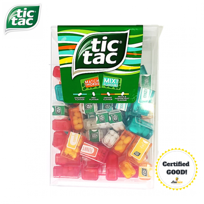 Tic Tac 60 Mini Boxes 228g [4 Flavors with Match Words]