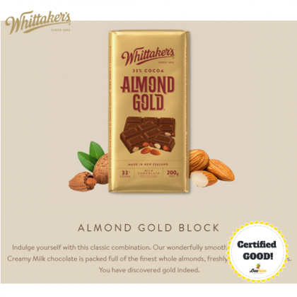 Whittaker's Almond Gold Chocolate 250g