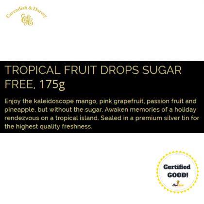 Cavendish & Harvey Sugar Free Tropical Fruit Drops Candy 175g