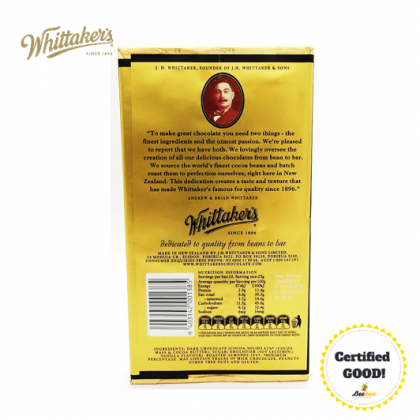 Whittaker's Dark Almond 62% Cocoa 250g
