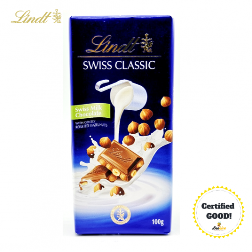 Lindt Swiss Classic Swiss Milk Chocolate with Gently Roasted Hazelnuts 100g