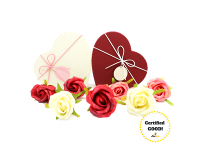 Beehive Heart Shaped Box of Flowers with Ritter Sport, Hersheys Kisses Chocolates [Pink n Beige]