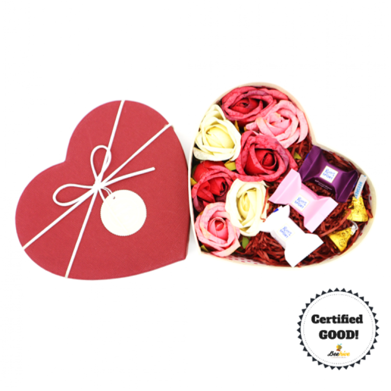 Beehive Heart Shaped Box of Flowers with Ritter Sport, Hersheys Kisses Chocolates [Maroon]