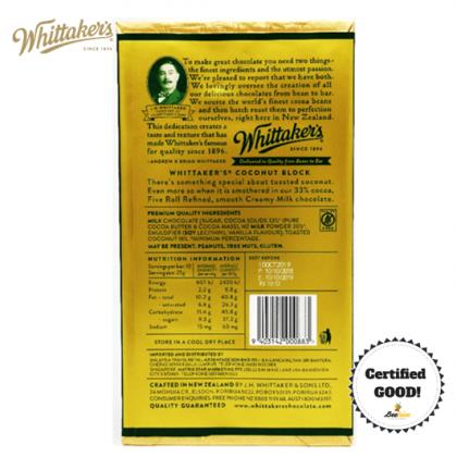 Whittakers Coconut Block in Creamy Milk Chocolate 33% 250g
