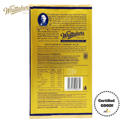 Whittakers Creamy Milk Chocolate 33% Cocoa 250g
