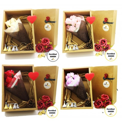 Beehive Handmade Soap Flower Bouquet & Hersheys Chocolates Gift Set