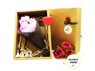 Beehive Handmade Soap Flower Bouquet & Hersheys Chocolates Gift Set