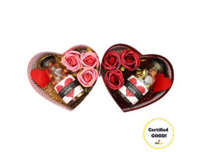 Beehive Heart-Shaped Gift Box with Roses and Hershey's Hugs & Kisses