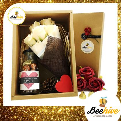 Beehive Handmade Flower Bouquet & Bottle of Hershey's Hugs & Kisses