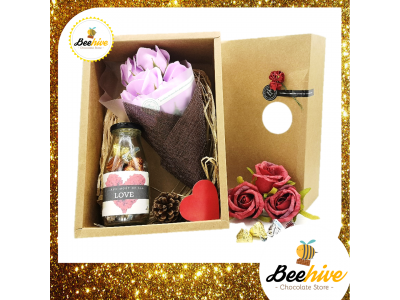 Beehive Handmade Flower Bouquet & Bottle of Hershey's Hugs & Kisses