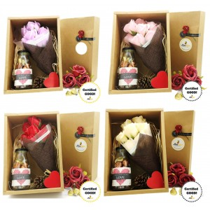 Beehive Handmade Soap Flower Bouquet & Bottle of Hershey's Hugs & Kisses
