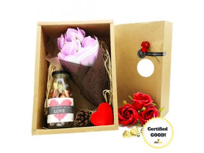 Beehive Handmade Soap Flower Bouquet & Bottle of Hershey's Hugs & Kisses