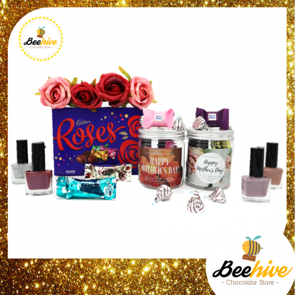 Beehive Pampering Mothers Day Chocolate Gift Set (Rose Red & Glittery Silver)