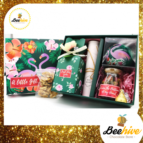 Beehive Green Flamingo Chocolate, Tea & Nuts Surprise Gift Box