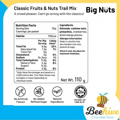 Big Nuts Healthy Snack Classic Fruit & Nut Trail Mix with Sea Salt 110g