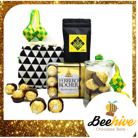 Beehive Ferrero Rocher Chocolate Raya Gift Set with Cooler Bag (Assorted Colours)